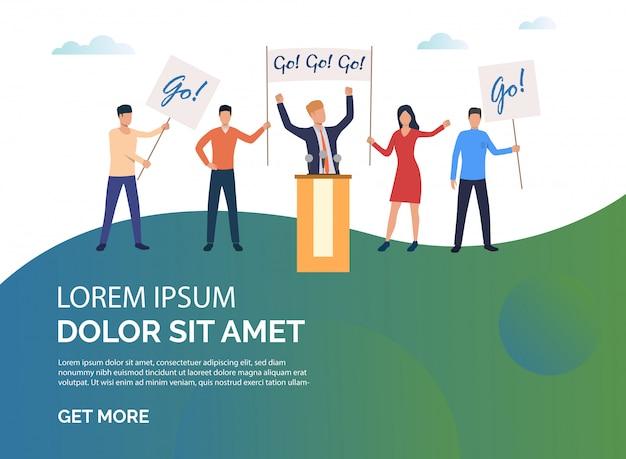Campaña electoral de ilustración de presentación verde. vector gratuito
