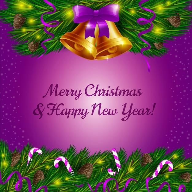 Campanas de navidad y bastones de caramelo sobre fondo violeta Vector Premium