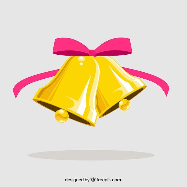 Campanas de navidad con lazo rosa vector gratuito