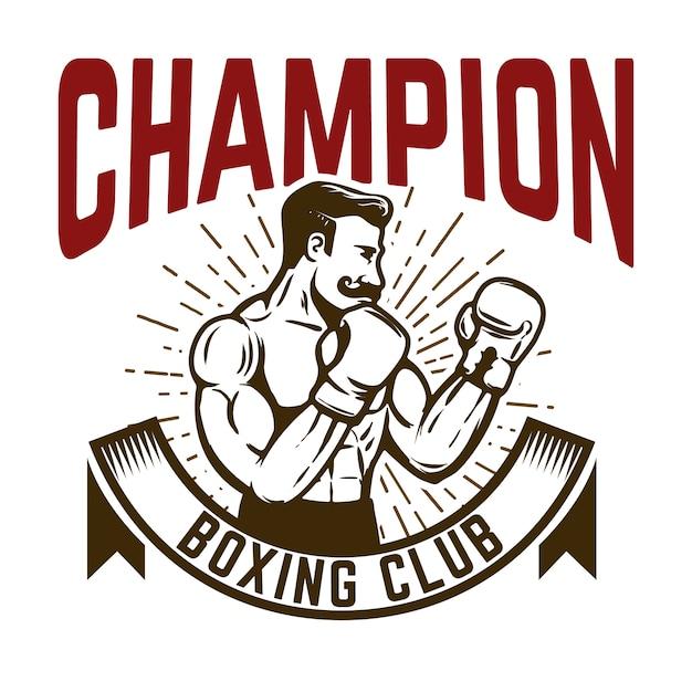 Campeón del club de boxeo. luchador boxer de estilo vintage. elemento para logotipo, etiqueta, emblema, signo. ilustración Vector Premium