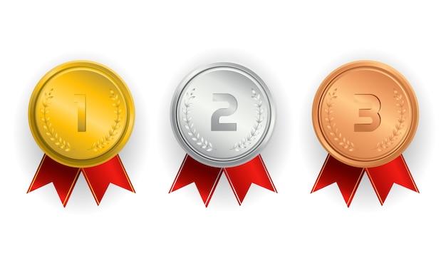 Campeón de medallas de oro, plata y bronce con cintas rojas. Vector Premium