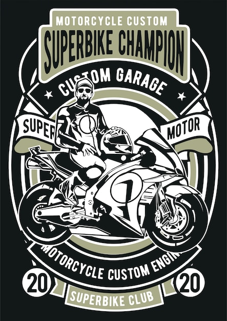 Campeón de superbikes Vector Premium