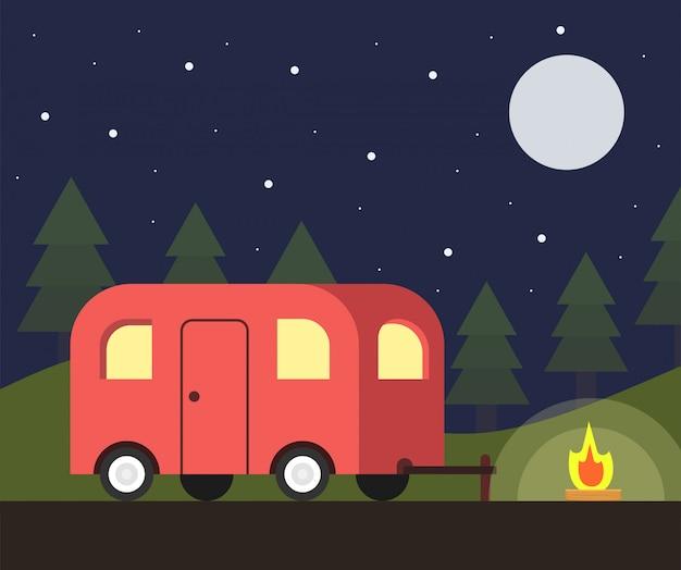 Camper trailer y escena de campamento en la noche Vector Premium