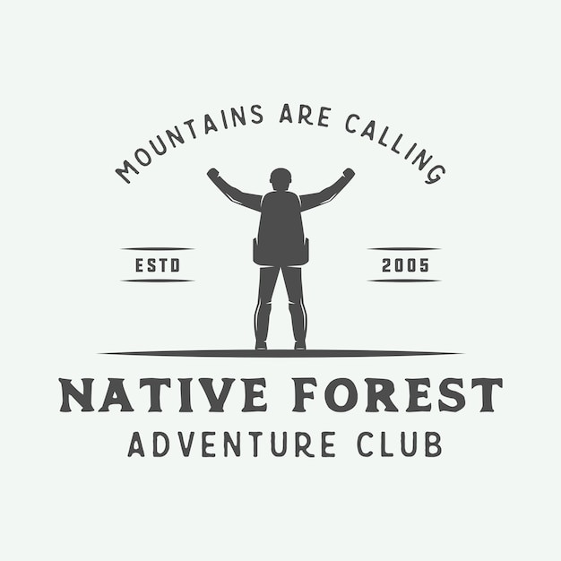 Camping al aire libre o cartel de tipografía de aventura. Vector Premium