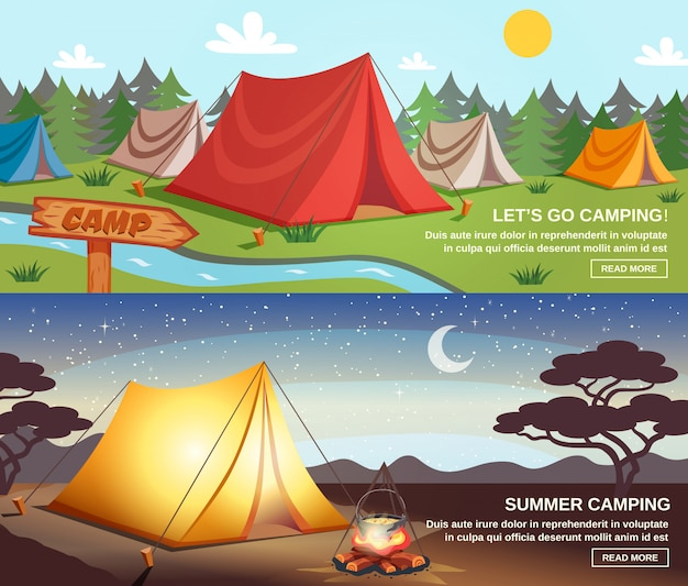 Camping banners horizontales vector gratuito
