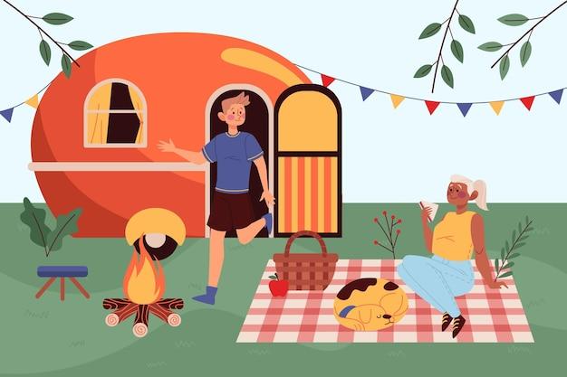 Camping con caravana vector gratuito