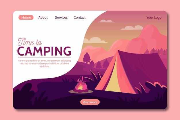 Camping con estilo de página de destino de carpa Vector Premium