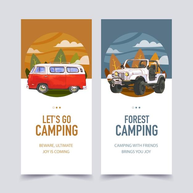 Camping flyer van, árbol y jeep ilustraciones. vector gratuito