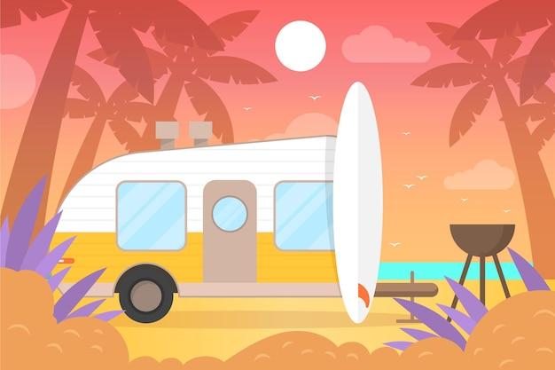 Camping con una ilustración de caravana. vector gratuito
