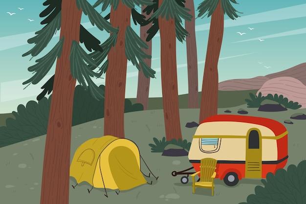 Camping con una ilustración de caravana. Vector Premium