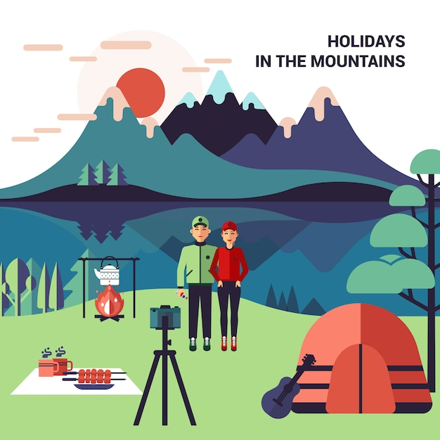 Camping en las montañas vector gratuito