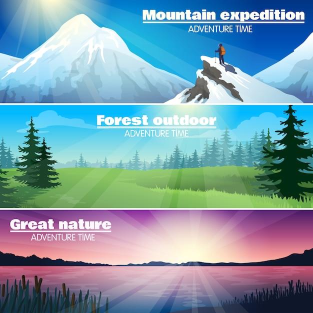 Camping de naturaleza al aire libre banners horizontales conjunto vector gratuito