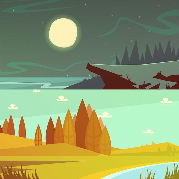 Camping y naturaleza en horario diurno y nocturno. vector gratuito