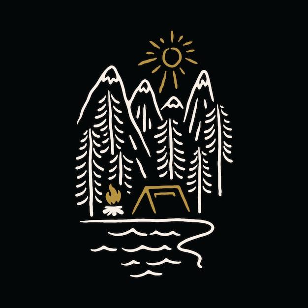 Camping naturaleza montaña lago ilustración Vector Premium