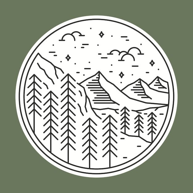 Camping naturaleza salvaje insignia parche pin ilustración gráfica Vector Premium