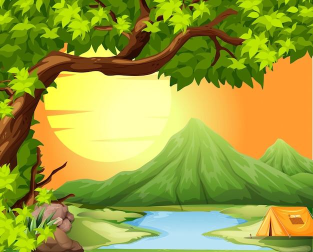 Camping en la naturaleza vector gratuito
