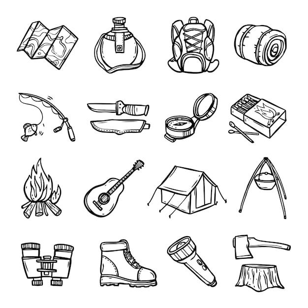 Camping negro blanco conjunto de iconos vector gratuito