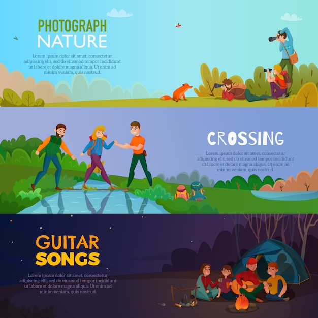 Camping people banners horizontales vector gratuito