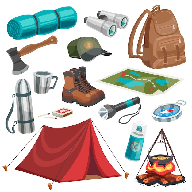 Camping scouting elements set vector gratuito