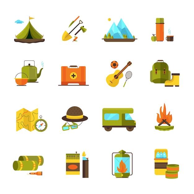 Camping y senderismo aventura iconos planos conjunto con pictogramas de guitarra y fogata camper resumen ilustración vectorial aislado vector gratuito