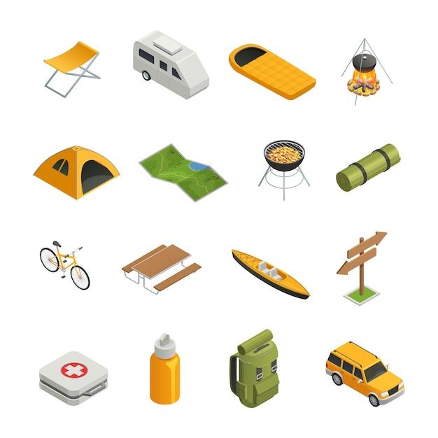 Camping senderismo conjunto de iconos isométricos vector gratuito