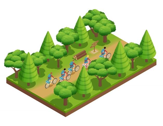 Camping senderismo isométrico composición turistas ir en pista forestal en el parque en bicicletas vector illustra vector gratuito