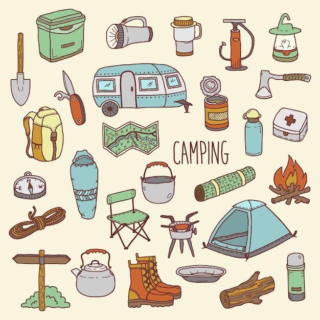 Camping vector conjunto de iconos coloridos dibujados a mano Vector Premium