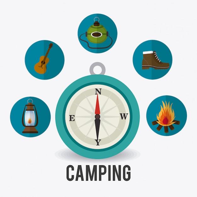 Camping viajes y vacaciones. vector gratuito