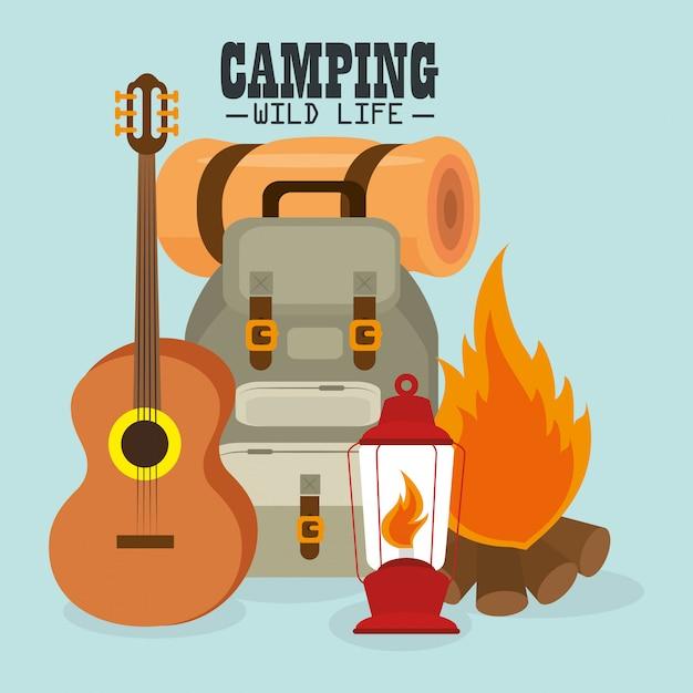 Camping vida salvaje con equipo vector gratuito