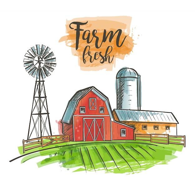 Campo de la casa de la cerca del granero del molino de viento de la granja Vector Premium