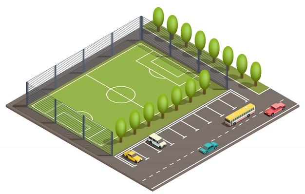 Campo de fútbol isométrico 3d, aparcamiento. vector gratuito