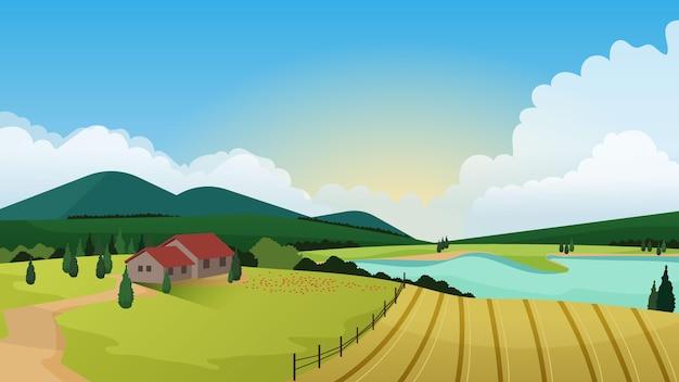 Campo hermoso paisaje con casa Vector Premium