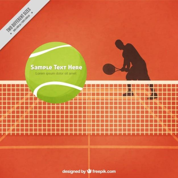 Campo de tenis con fondo tenista silhoutte Vector Premium