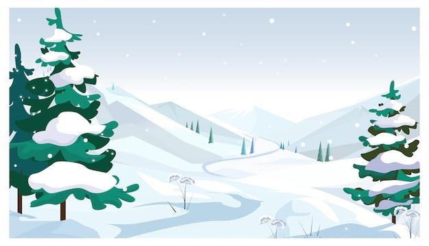 Campos de invierno con la ilustración de la nieve que cae vector gratuito