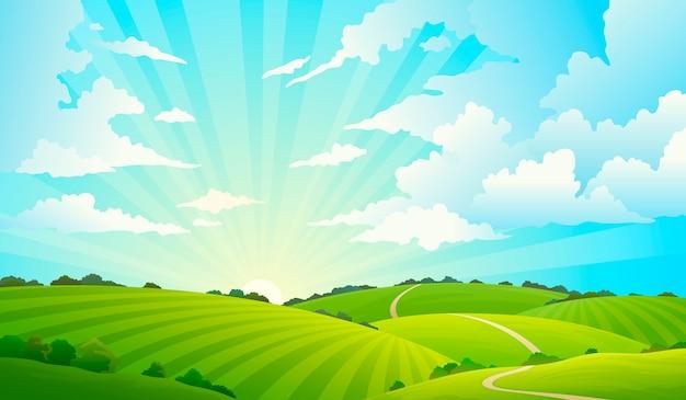 Campos paisaje con colinas naturaleza cielo horizonte prado campo de hierba rural tierra agricultura pradera Vector Premium