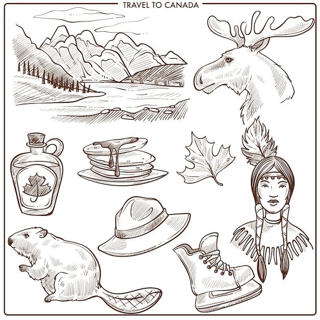 Canadá viajes turismo hitos y cultura símbolos boceto. Vector Premium