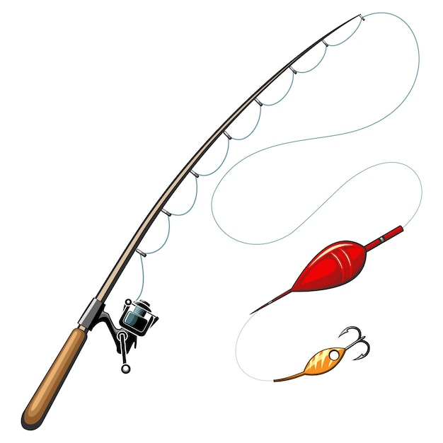 Cañas de pescar. captura y pasatiempo, equipo deportivo, anzuelo, herramienta de objetos vector gratuito