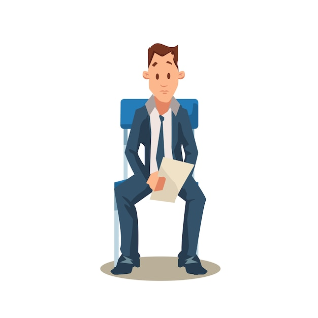 Candidato masculino se sienta en la silla antes de la entrevista de trabajo Vector Premium