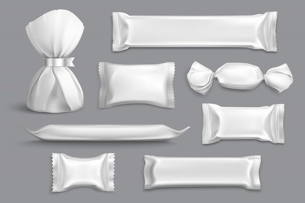 Candy packaging suministra productos aislados colección de muestras de maquetas en blanco con envoltorios de aluminio gris realista vector gratuito