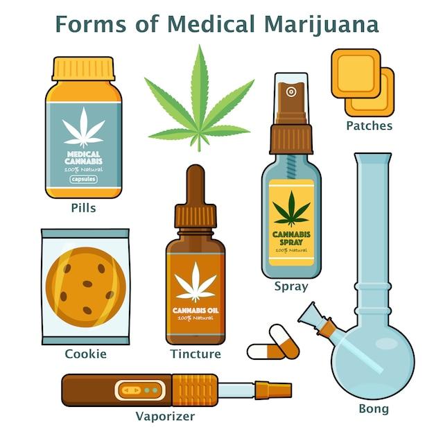 Cannabis, formas de marihuana para uso médico con descripciones Vector Premium