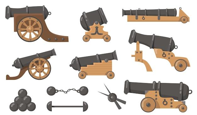 Cañones medievales con conjunto de ilustración plana de balas de cañón. arma de madera y metal de dibujos animados para barcos viejos y colección de ilustraciones vectoriales aisladas de batalla de disparos. concepto de historia, destrucción y guerra. vector gratuito
