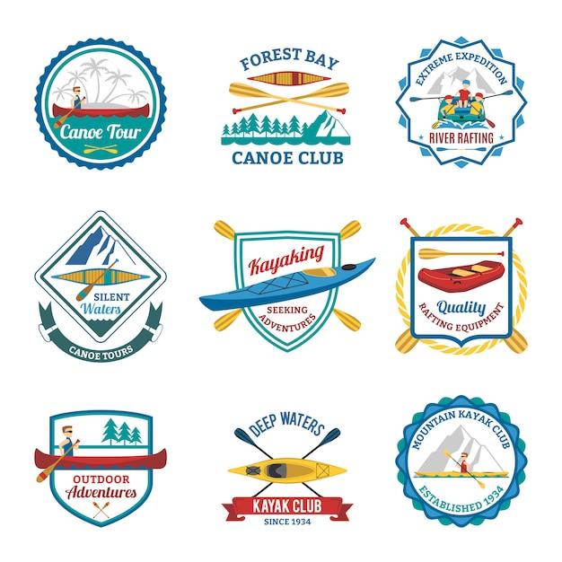 Canotaje de rafting y conjunto de emblemas de kayak vector gratuito