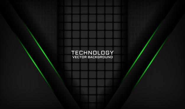 Capa de superposición de fondo de tecnología negra abstracta con efecto de luz verde Vector Premium