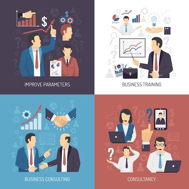 Capacitación empresarial elementos y elementos conceptuales. vector gratuito