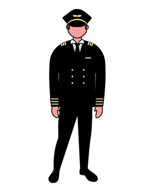 Capitán piloto empleado de trabajo sobre fondo blanco Vector Premium