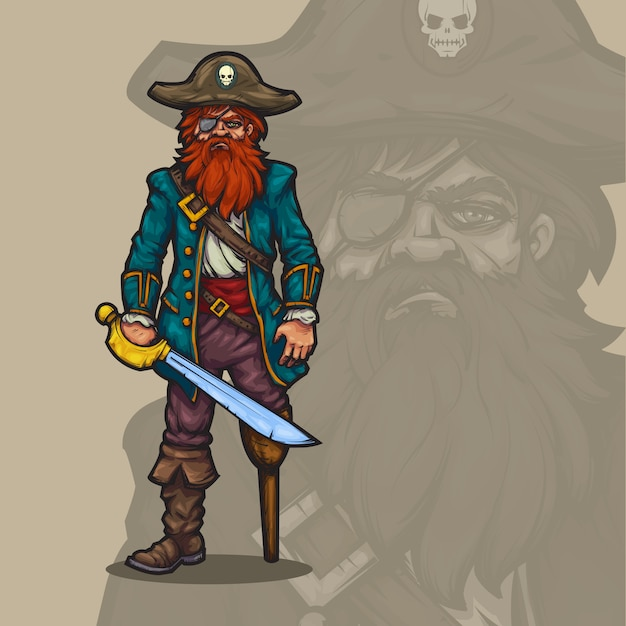 Capitán pirata de dibujos animados Vector Premium