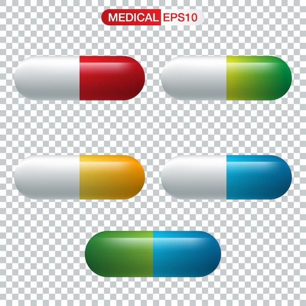 Cápsula realista o medicina de la píldora Vector Premium