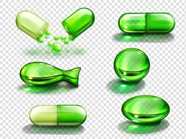 Cápsula verde con vitamina, colágeno o medicamento. vector gratuito