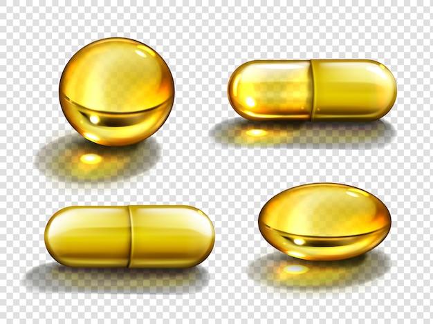Cápsulas de aceite de oro, vitaminas redondas y píldoras ovales. vector gratuito