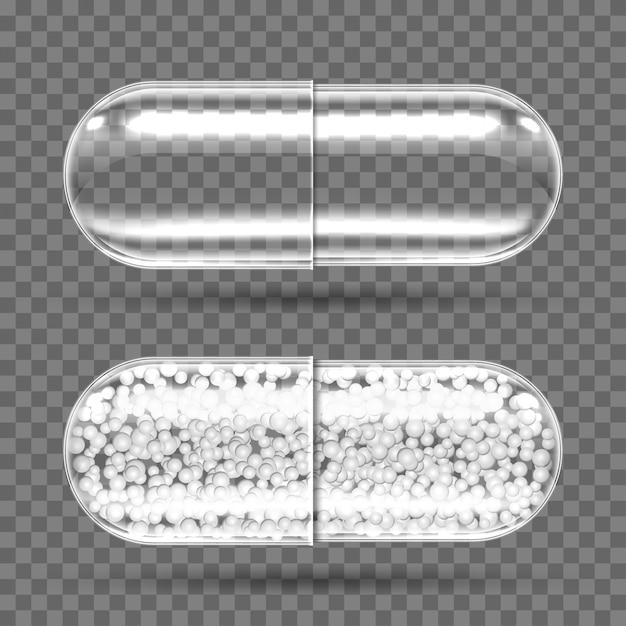 Cápsulas transparentes vacías y con gránulos. vector gratuito